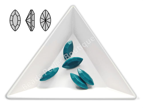 Cabuchón - Acrílico Pointback - Navette 07x15 mm - Dark Teal (4 Uds.)