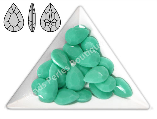 Cabuchón - Acrílico Pointback - Drop 10x14 mm - Green Turquoise (4 Uds.)