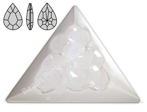 Cabuchón - Acrílico Pointback - Drop 10x14 mm - White Opal (4 Uds.)