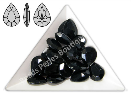 Cabuchón - Acrílico Pointback - Drop 10x14 mm - Black (4 Uds.)