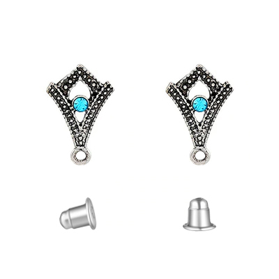 Fornitura - Pendiente Stud - 19x12mm - Color Plata Antigua - Turquesa (1 par)