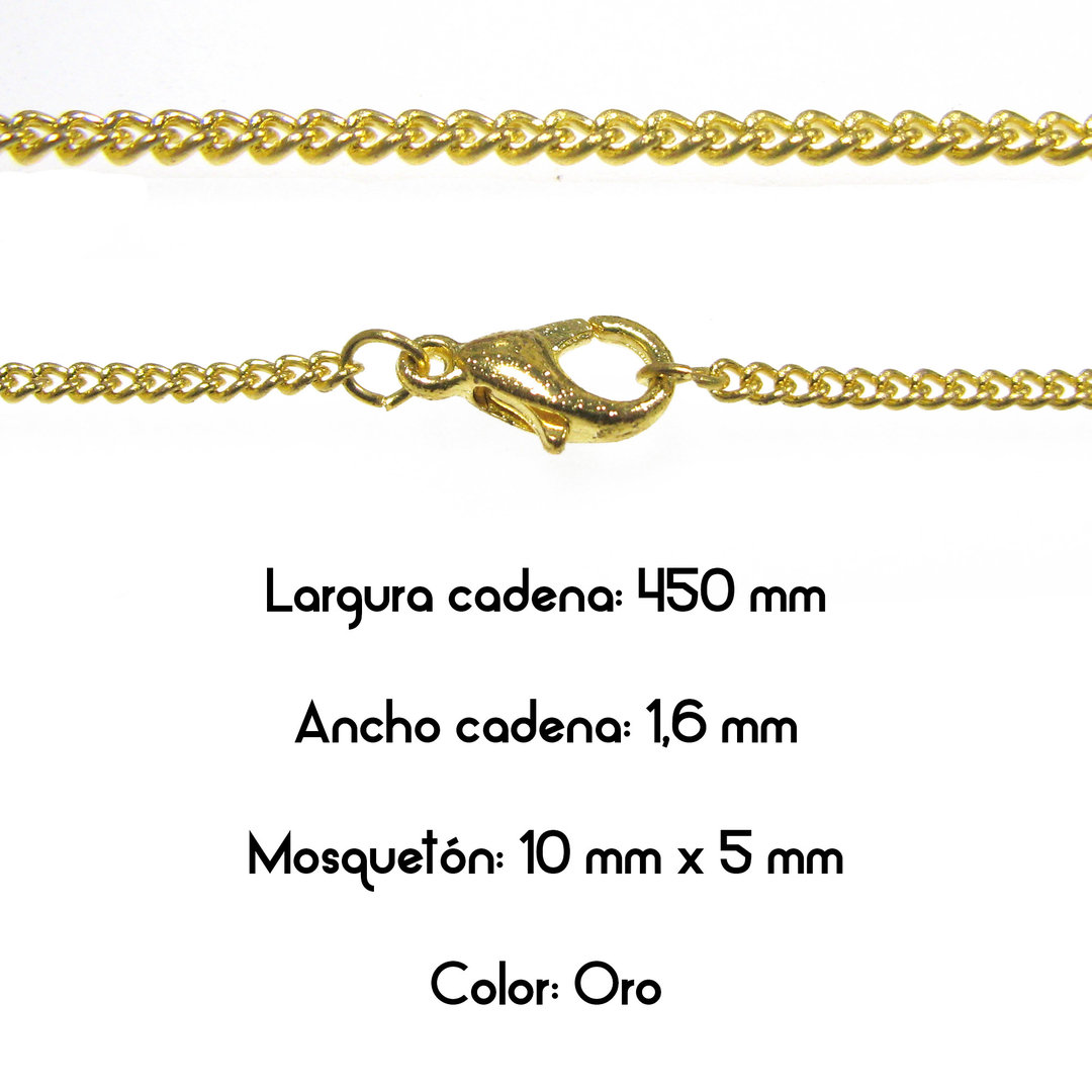 Fornitura - Cadena con cierre - Largo: 450mm Ancho: 1,6mm - Color Oro (1 Uds.)