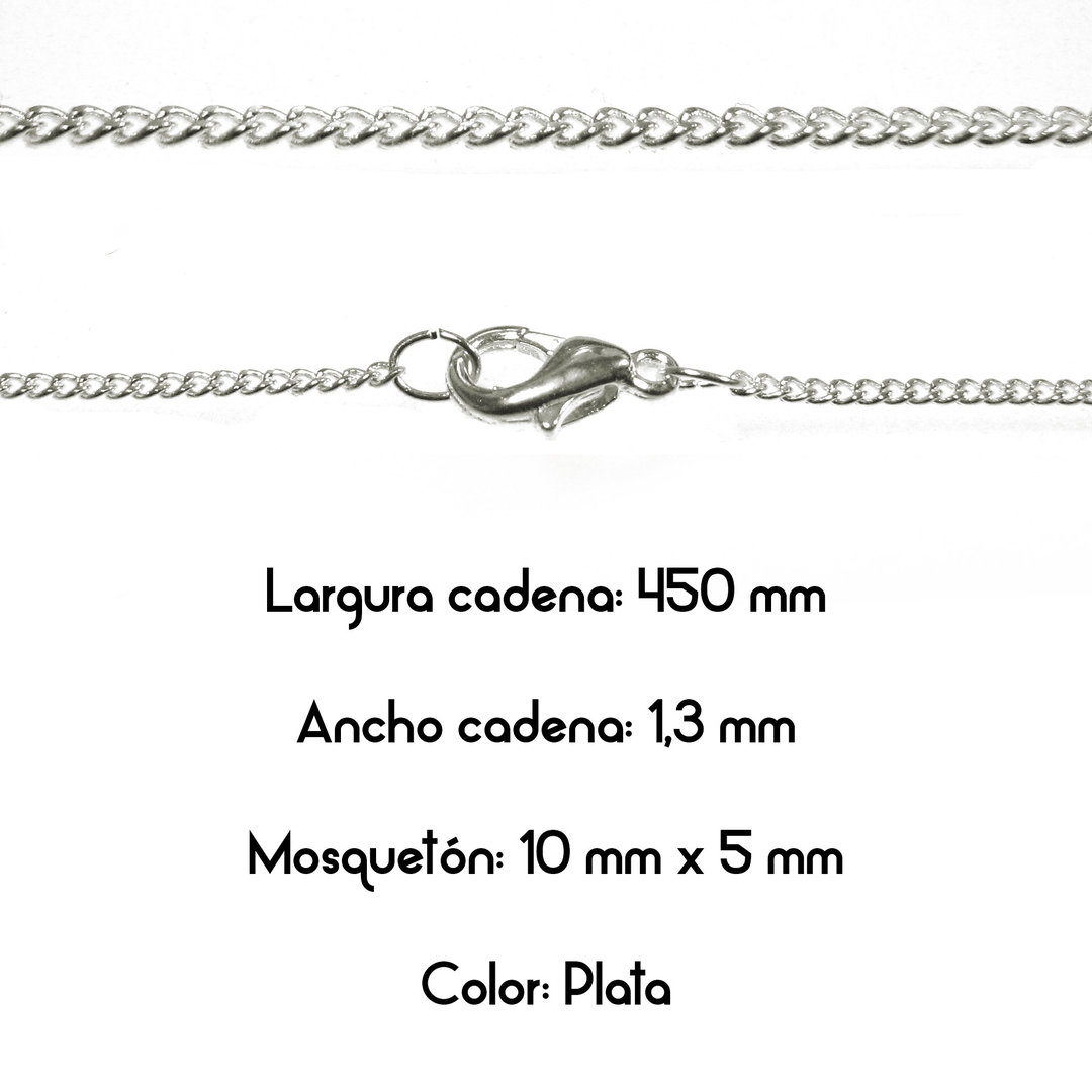 Fornitura - Cadena con cierre - Largo: 450mm Ancho: 1,3mm - Color Plata (1 Uds.)