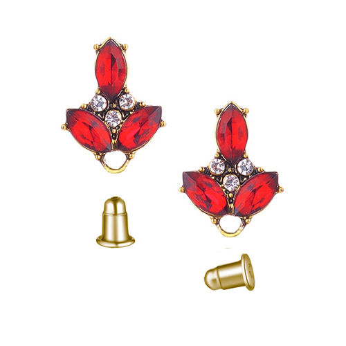 Fornitura - Pendiente Stud - 18x13mm - Color Oro Antiguo - Scarlet (1 par)