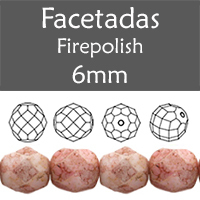 Cristal Checo - Facetada - 6mm - Marbled Opaque Coral (25 Uds.)