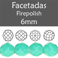 Cristal Checo - Facetada - 6mm - Opal Green Turquoise (25 Uds.)