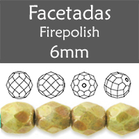 Cristal Checo - Facetada - 6mm - Chalk Bericia Marbled (25 Uds.)