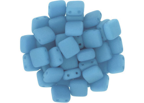 Cristal Checo - Tile - 6x6mm - Silk Blue Turquoise (50 Uds.)