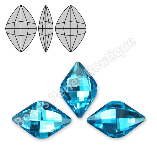 Cabuchón - Cristal Pointback - Rhombus Check 12X19mm - Blue Turquoise (2 Uds.)