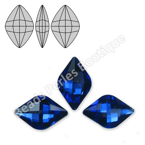 Cabuchón - Cristal Pointback - Rhombus Check 12X19mm - Deep Sapphire (2 Uds.)