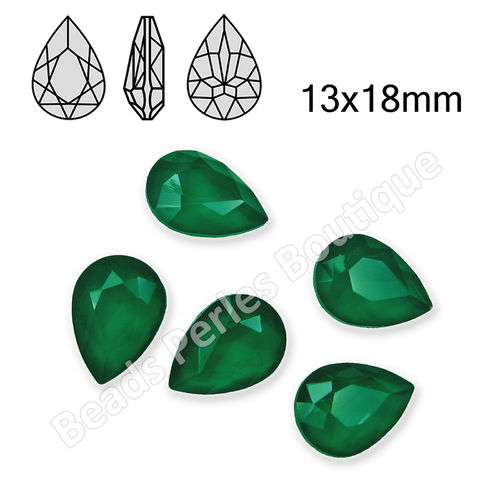 Cabuchón - Cristal GEL - Drop 13x18mm - Emerald (2 Uds.)