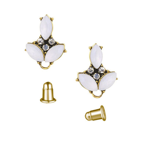Fornitura - Pendiente Stud - 18x13mm - Color Oro Antiguo - White Opal (1 par)